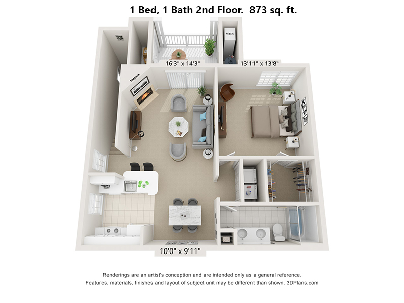 Fox Ridge at Lakeside 1 bedroom, 1 bath 2nd floor floorplan