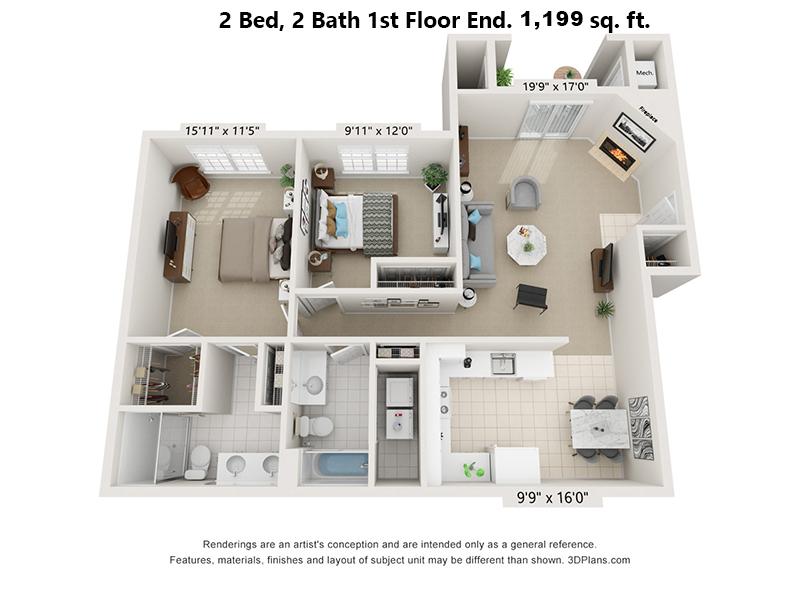 2 Bedroom, 2 bath, 1st floor End unit floorplan 1,199 sq. ft.