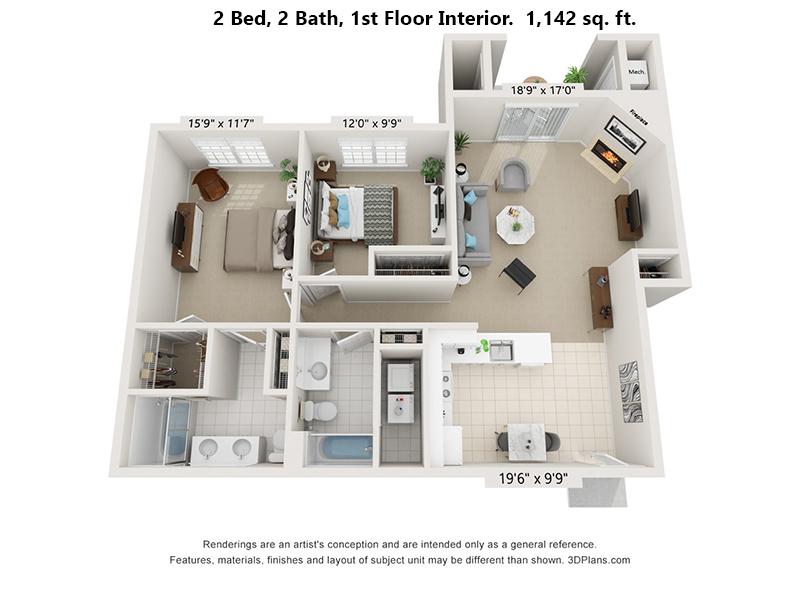 2 Bedroom, 2 Bath first floor interior floor plan, 1,142 sq. ft