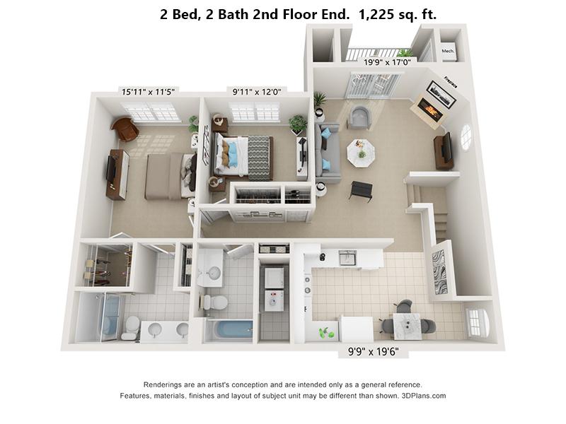 Fox Ridge at Lakeside 2 Bedroom, 2 Bath Second floor End unit floorplan