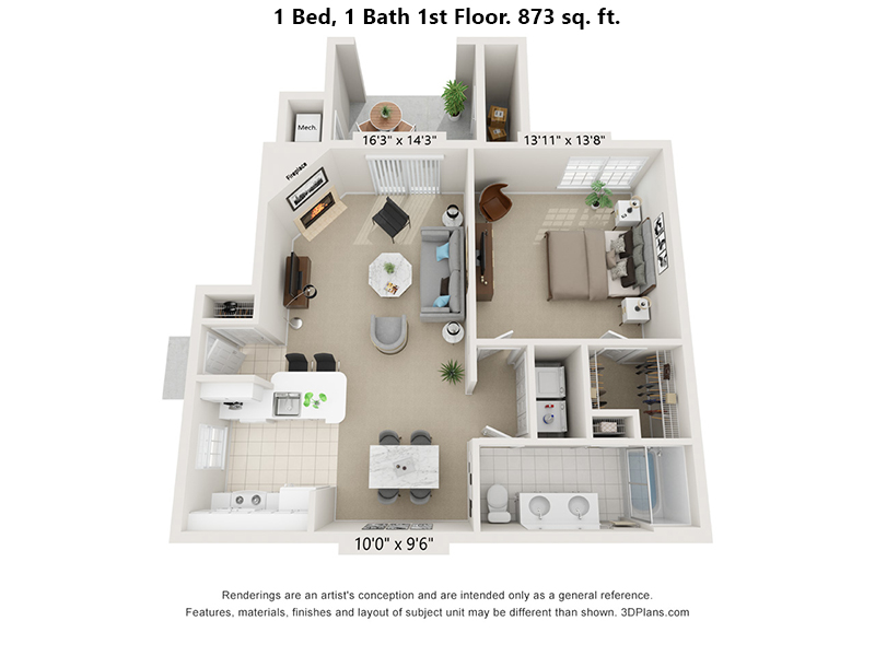 1 Bedroom 1 Bath first floor floor plan 873 sq. ft.