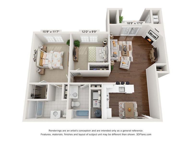 2 Bedroom, 2 Bath first floor interior floor plan, 1,142 - 1159 sq. ft