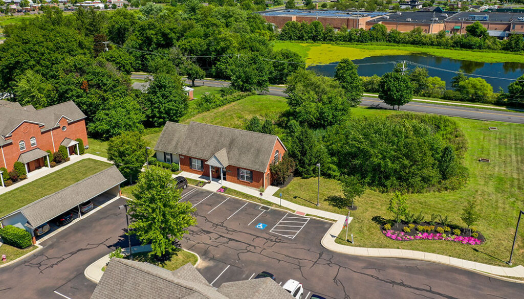 Aerial view of Lakeview Apartments Leasing office and Fitness Center