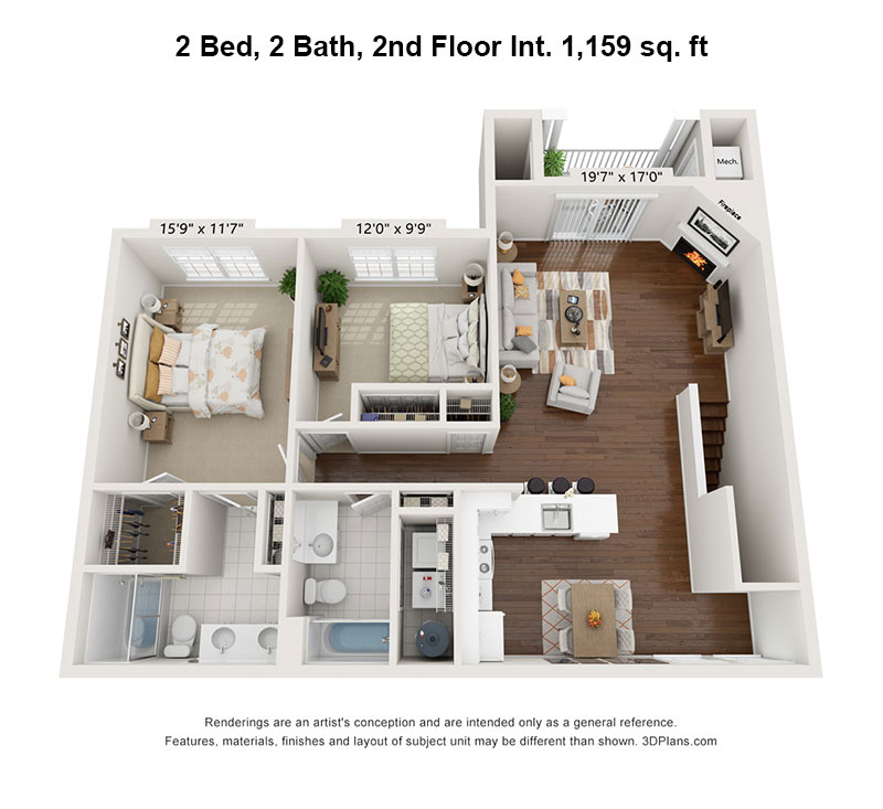2 Bedroom, 2 Bath, 2nd floor interior floorplan 1,159 sq. ft.